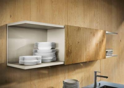 rangement de cuisine en hauteur en bois